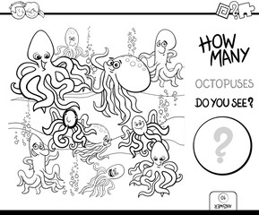 counting octopus characters educational game color book