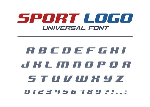 Sport logo universal italic font. Fast and strong futuristic, athletic, dynamic alphabet. Technology typography style. Letters, numbers for high speed car racing design. Modern vector abc typeface