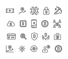 Set of Bitcoin Vector Icons Line Editable Stroke. 48x48 Pixel Perfect.