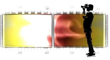 Vintage double film strip frame with silhouette of photographer at work.