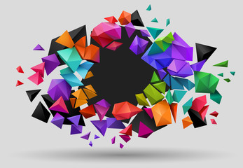 Low poly background, colorful shattering elements explode outwards, with room for text, eps10 vector