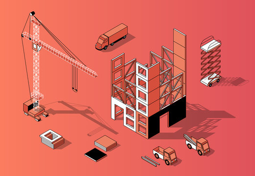 Vector 3d isometric construction site concept with unfinished building, crane and transport. Building exterior in orange colors, black thin lines. Urban tower with shadow. Industrial background.