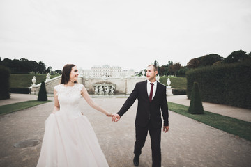 Lovely happy wedding couple, bride with long white dress