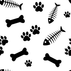 Animal seamless pattern with fish bones and cat paw track, bones and dog paw track isolated on white background. Vector illustration