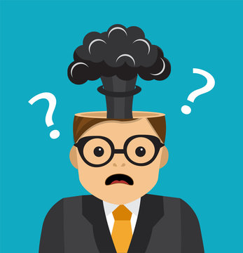 a businessman can not solve a difficult problem and in his head there is an explosion of the brain and a background of question marks