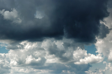 Fantastic, fluffy, white clouds against a blue sky. Rain clouds. The situation in the sky before the storm. copy space