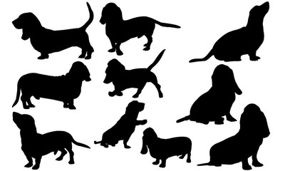 Basset Hound Dog svg files cricut,  silhouette clip art, Vector illustration eps, Black Dog  overlay