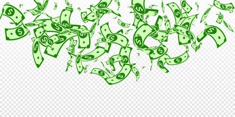 American dollar notes falling. Random USD bills on