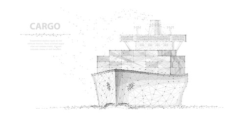 Worldwide cargo ship. Abstract Polygonal wireframe vector.