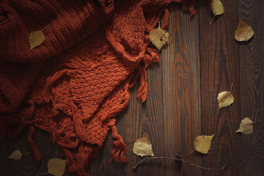 Cozy autumn background with knitted scarf on wood