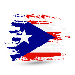 Grunge brush stroke with Puerto Rico national flag