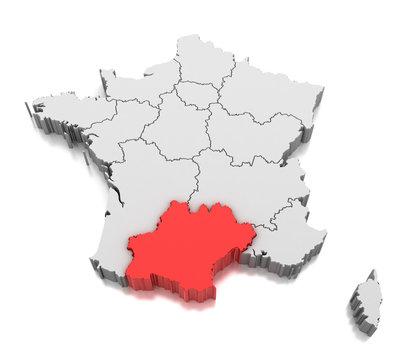 Map of Occitanie region, France