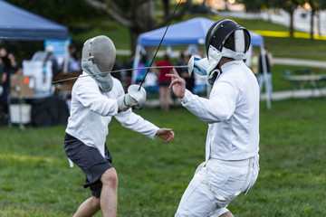 Battle of two fencing athletes