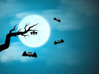 Halloween with tree bat and sky color purple moon text space