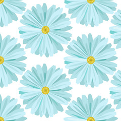 Cute Floral seamless pattern with light blue daisies on beautiful white background. Spring flowers background