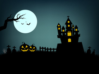 halloween day ,on a dark night the castle ,grave and ghost scary and dark flying bats and moon and pumpkin