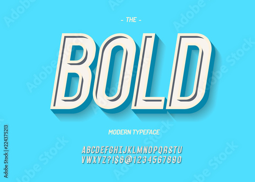 Vector bold font modern typography sans serif 3d style for