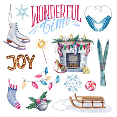 Watercolor set of traditional winter and Christmas elements
