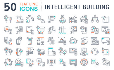 Set Vector Line Icons of Intelligent Building.
