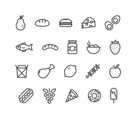 Simple Set of Food and Fruits Related Vector Line Icons. Editable Stroke. 48x48 Pixel Perfect.