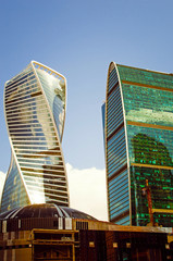 Moscow, Russia– July 05, 2018: Beautiful modern buildings Moscow-city.