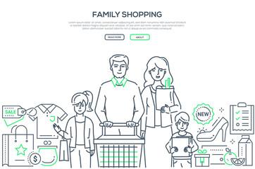 Family shopping - modern line design style banner