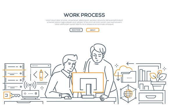 Work process - modern line design style banner