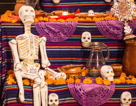 Handmade skeleton in altar, day of the dead celebration in Mexico