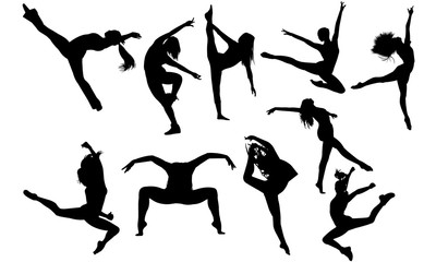 Jazz Dance svg, dance cricut files,  black dancer silhouette Vector clipart, illustration, eps, overlay Wall mural