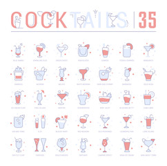Set Blue Line Icons of Cocktails.