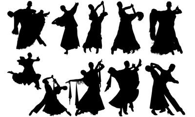 Waltz Ballroom Dance svg, dance cricut files,  black dancer silhouette Vector clipart, illustration, eps, overlay