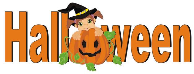 halloween, witch, little witch, halloween witch, girl, child, pumpkin, holiday, orange, October 31, word
