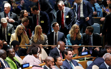 U.S. President Trump's children listen as he addresses the 73rd session of the United Nations General Assembly at U.N. headquarters in New York