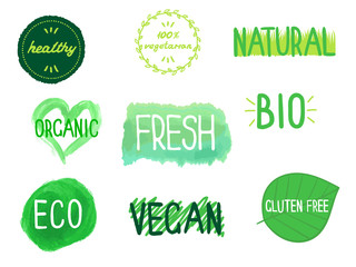 Eco, organic, bio, fresh, natural, vegan, vegetarian, gluten free signs. Tags set for packaging, cafe etc. Vector illustration