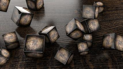 Dark metallic glossy lips on a white background. 3D rendering