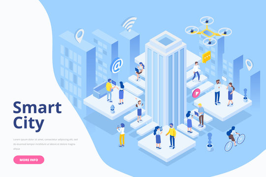 Modern flat design isometric concept of Smart City. Business center with skyscraper. Different people with gadgets. Flat Vector illustration for banner and website.