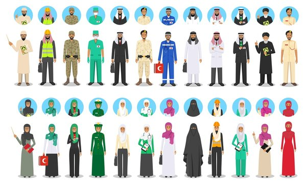 Different muslim Middle East people occupation characters set in flat style. Professions of men and women. Set of avatars icons. Templates for infographic, sites, banners, social networks. Vector.