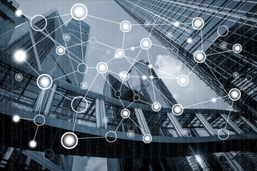 Wall Mural - Network connection concept with cityscape background