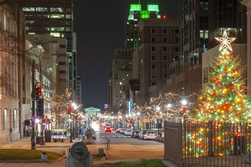 Christmas lighting in downtown Raleigh at night