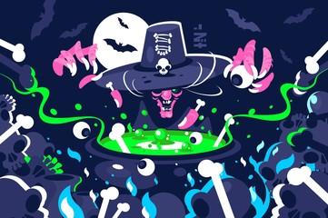 Halloween witch preparing magic potion in cauldron