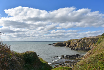 Howth Ireland stock images. Irish landscape with sea. Coast with clouds. Summer landscape photography