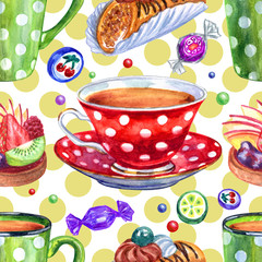 Seamless watercolor pattern of cups of peas, cakes and sweets on the background of polka dots.
