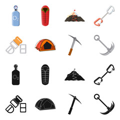 Vector design of mountaineering and peak sign. Set of mountaineering and camp stock symbol for web.