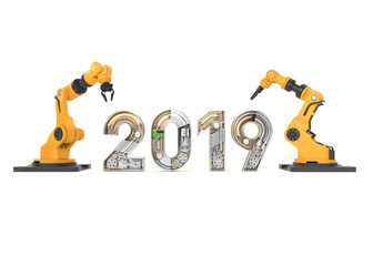 New year 2019 made from mechanical alphabet with robotic arm.