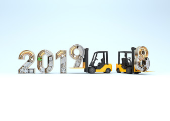 New year 2019 made from mechanical alphabet and forklift.
