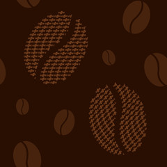 Coffee seamless pattern with coffee beans and text