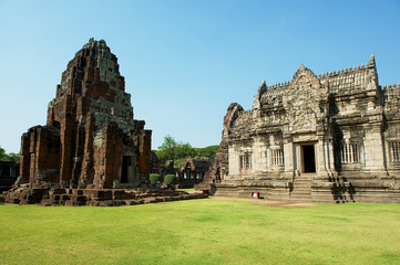 Ruins of the Phimai temple in the Phimai Historical Park in Nakhon Ratchasima, Thailand. It is one of the most important Khmer temples in Thailand.