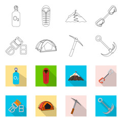 Isolated object of mountaineering and peak logo. Collection of mountaineering and camp vector icon for stock.