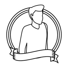 Man with sweater avatar round icon