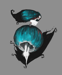 The fairy woman in a dress in form of mushroom. Digital painted illustration. Modern drawing.